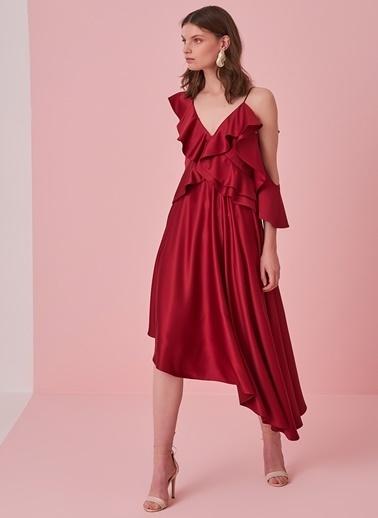 morhipo x dcey Volan Detaylı Saten Elbise Kırmızı